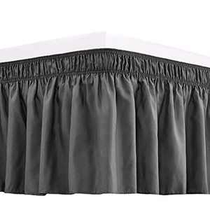 RIMELA Bed Skirt Wrap Around Elastic Dust Ruffles Solid Color Wrinkle and Fade Resistant with Adjustable Elastic Belt Easy to Install Dark Gray for Queen Size 18 Inch Drop