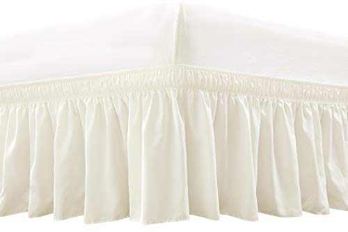 RIMELA Bed Skirt Wrap Around Elastic Dust Ruffles Solid Color Wrinkle and Fade Resistant with Adjustable Elastic Belt Easy to Install Ivory for Queen Size 15-Inch Drop