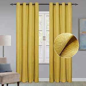 GRALI Checkered Textured Blackout Curtains, Faux Linen Drapes for Living Room / Guest Room, Window Dressing & Room Darkening, W52 x L95, 2 Pieces, Mustard Yellow