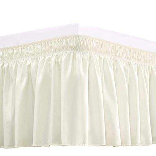 RIMELA Bed Skirt Wrap Around Elastic Dust Ruffles Solid Color Wrinkle and Fade Resistant with Adjustable Elastic Belt Easy to Install Ivory for King Size 18 Inch Drop