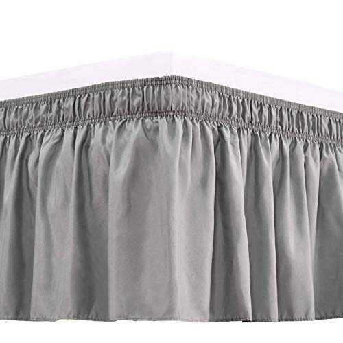 RIMELA Bed Skirt Wrap Around Elastic Dust Ruffles Solid Color Wrinkle and Fade Resistant with Adjustable Elastic Belt Easy to Install Silver Gray for King Size 15 Inch Drop