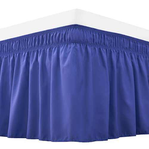 RIMELA Bed Skirt Wrap Around Elastic Dust Ruffles Solid Color Wrinkle and Fade Resistant with Adjustable Elastic Belt Easy to Install Blue for King Size 18 Inch Drop
