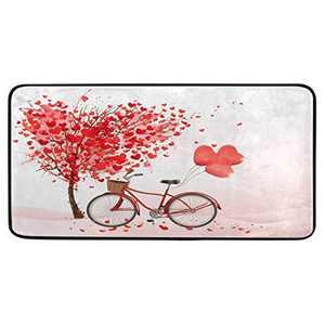 "Kitchen Rugs Red Love Heart Bicycle Valentine's Day Design Non-Slip Soft Kitchen Mats Bath Rug Runner Doormats Carpet for Home Decor, 39"" X 20"""
