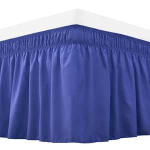 RIMELA Bed Skirt Wrap Around Elastic Dust Ruffles Solid Color Wrinkle and Fade Resistant with Adjustable Elastic Belt Easy to Install Blue for Queen Size 18 Inch Drop