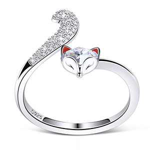 PLATO H S925 Sterling Silver Fox Animal Ring Crystals for Women Teen Girl Adjustable Fox Tail Ring Anniversary Clear Jewelry Valentines Day Gifts for her