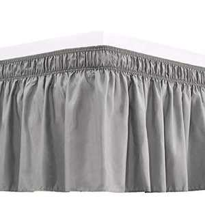 RIMELA Bed Skirt Wrap Around Elastic Dust Ruffles Solid Color Wrinkle and Fade Resistant with Adjustable Elastic Belt Easy to Install Silver Gray for Queen Size 15 Inch Drop
