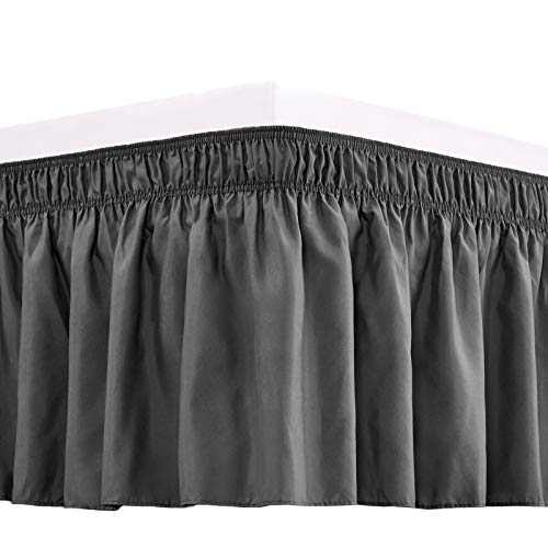 RIMELA Bed Skirt Wrap Around Elastic Dust Ruffles Solid Color Wrinkle and Fade Resistant with Adjustable Elastic Belt Easy to Install Dark Gary for Queen Size 15 Inch Drop