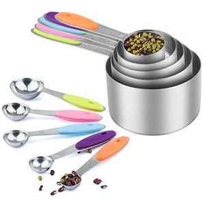 5pcs Stainless Steel Measuring Cups & 5pcs Measuring Spoons - Measuring Cups and Spoons Set with Colored Silicone Handle - Ideal for Dry & Liquid Ingredients Measurement