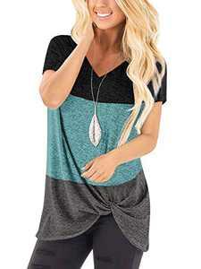 Yidarton Women's T Shirts V Neck Comfy Casual Twist Knot Tunics Tops Blouses(#2 BK2,S)
