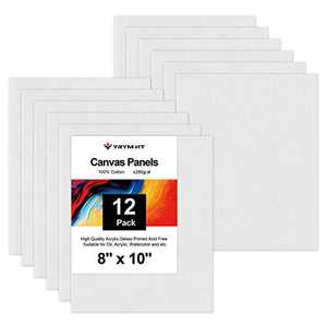 YRYM HT Painting Canvas Panels - 12 Pack 8 x 10 Inch Triple Primed 100% Cotton Canvas Boards for Painting, Oil, Acrylic, Watercolor, Acid-Free for Artists, Painters, Kids, Students