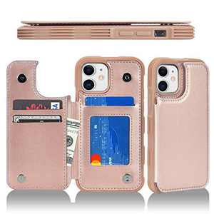 """Ktinnead Compatible with iPhone 11 Wallet Case with Card Holder, PU Leather Kickstand Credit Card Slots Case, Double Magnetic Clasp Durable Shockproof Cover, Case for iPhone 11 6.1"""""""