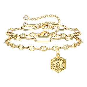 MONOZO Gold Initial Bracelets for Women, Dainty 14K Gold Filled Layered N Letter Initial Bracelet Personalized Alphabet Hexagon Monogram Charm Bracelet Jewelry Gifts for Girls