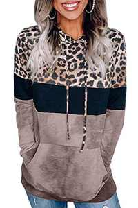 Angerella Women's Color Block Hoodie Sweatshirts Leopard Print with Pockets Casual Drawstring Pullover Tops Brown M