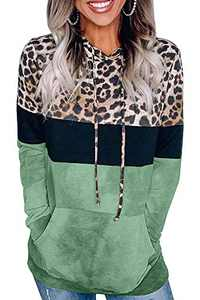 Angerella Women's Color Block Sweatshirts Hoodie Leopard Patchwork Drawstring Pullover Tops with Pockets Green L