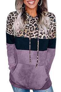 Angerella Women's Leopard Print Sweatshirts Kangaroo Pockets Color Block Striped Hoodie Drawstring Pullover Tops Purple M