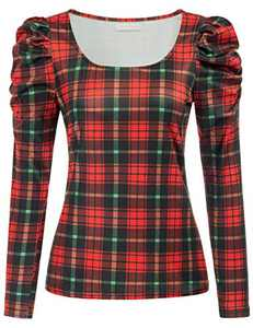 Women's Puff Sleeve Plaid Christmas Top Slim Fit Party Blouse Top,M