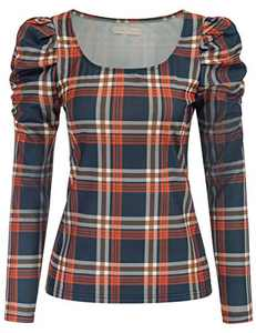 Belle Poque Women's Long Sleeve Round Neck Gingham Blouse Fitted Tee Shirt,M