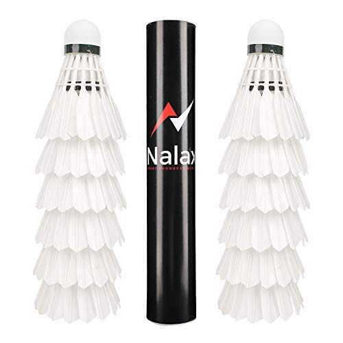 nalax Badminton Birdie,12-Pack Professional Duck Feather Badminton Shuttlecocks Feather Ball with Great Durability Stability and Balance,Suitable for Professional Training Or Family Outdoor Sports.