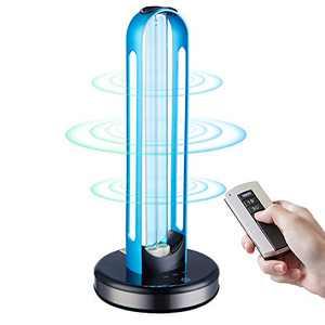UV Light Sanitizer, Disinfection Germicidal UV Lamp Sterilizer, UVC Mite-Removal Bulb, Remote & Cycle Timing Control, Radar Sensor, Ozone Free, Kills 99.9% of Germs Viruses for Home Room (Blue)