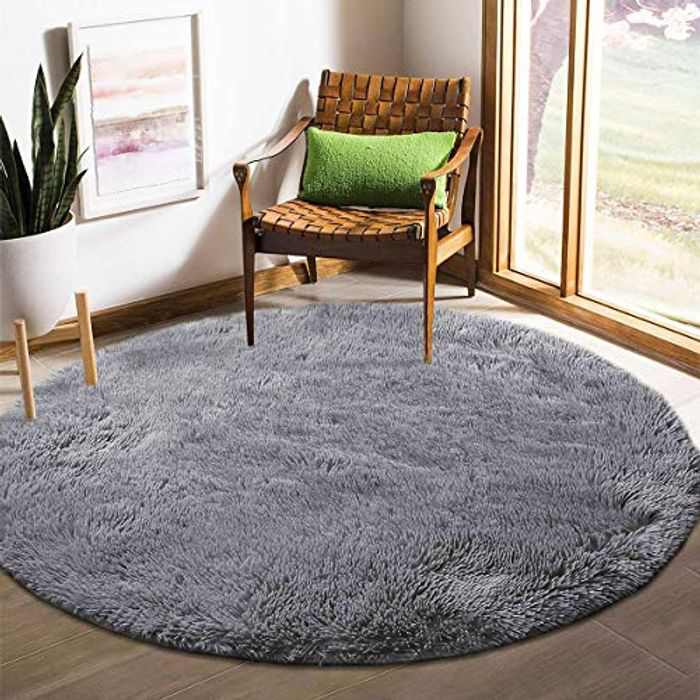 Tinyboy-hbq Round Area Rugs Fluffy Bedroom Rug Shaggy Bedroom Bedside Household Carpet Soft Modern Plush Carpets Suitable for Home Decor(Grey, Diameter 100cm)