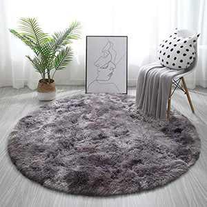 Tinyboy-hbq Round Area Rugs Fluffy Bedroom Rug Shaggy Bedroom Bedside Household Carpet Soft Modern Plush Carpets Suitable for Home Decor(Black grey, Diameter 160cm)