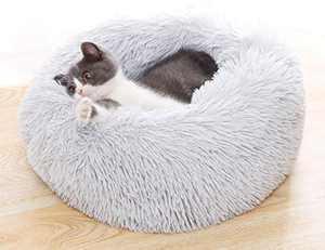 "FimEudora Calming Pet Bed for Small Pet,Comfy,Fluffy,Ultra Soft,Cat&Dog,Round Pillow Donut Pet Bed(Medium 20"",Light Grey)"