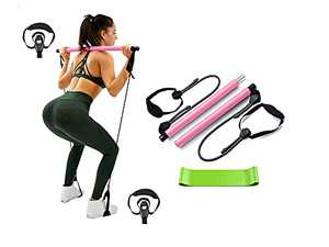 SALEYLA WOMEN FITNESS Adjustable Pilates Bar Kit With Resistance Bands, Portable Home Workout Equipment, Toning Bar with Foot Loop for Hipsline. Fitness Bar, Gym Stick, Toning Ropes, Home Gym equipment for full Body workout
