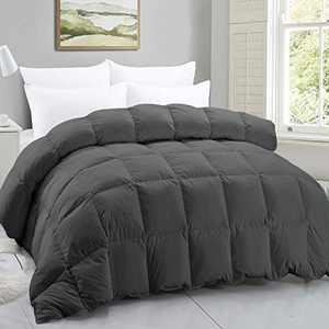 Baiwang 100% Cotton Gray Down Comforter with Goose Duck Down and Feather Filling.Warmth Heavy-Weight Duvet Insert-Machine Washable Bed Comforter with Tabs Twin 68×90 Inch.