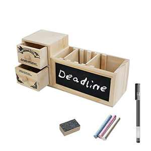 Wooden Desk Organizers, Pencil Holders, Pen Stand with 3 Adjustable Compartments, Multifunctional Desktop Stationary Cute Pen Holder with Blackboard, Ideal Gift for Women & Kids to Storage Pens