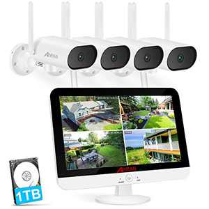 """[8CH Expandable and Audio Recording] ANRAN All in One Wireless Security Camera System with 13"""" LCD Monitor &1TB Hard Drive,8 Channel NVR 4Pcs 3MP Pan/Zoom WiFi Surveillance Cameras with One-Way Audio"""