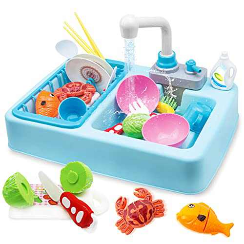 HOMILY Play Sink for Kids Kitchen Pretend Play Dishwasher Toy Automatic Running Water Faucet