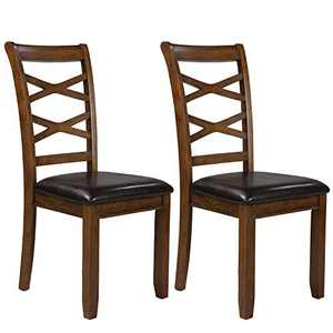 LALUZ Brown Dining Room Chairs Set of 2, Kitchen Table Wood, Oak Finish, Rustic