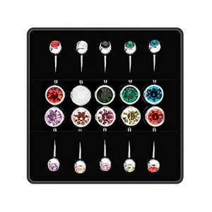 Belly Button Rings 10 Pieces, Surgical Stainless Steel Belly Rings for Women Girls with Colorful Crystal Diamonds, Body Piercing Navel Ring as Ideal Jewelry Set Gift or Daily Wear