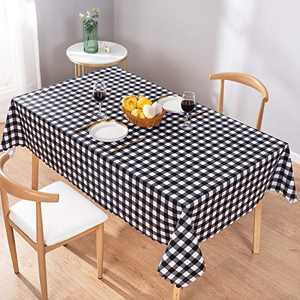 UMINEUX Checkered Vinyl Rectangle Tablecloth Washable Wipeable 100% Waterproof Oil Proof Buffalo Plaid Vinyl Tablecloth for Indoor Outdoor Picnic Use-54 x 78 Inch(Black and White)