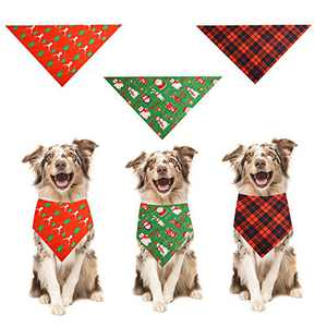 MOMOCAT Christmas Dog Bandanas 3 PC Set Triangle Dog Scarf, Washable, Suitable for Large, Medium and Small Cats and Dogs, Adjustable Square Dog Kerchief