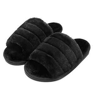 FEETCITY Women's Comfort Slippers Fur Slide Open Toe Fuzzy Sansals Indoor Non-Slip Size 5-5.5 Black