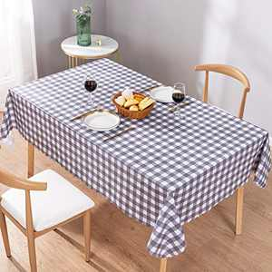 UMINEUX Checkered Vinyl Square Tablecloth Washable Wipeable 100% Waterproof Oil Proof Buffalo Plaid Vinyl Tablecloth for Indoor Outdoor Picnic Use-54 x 54 Inch(Grey and White)