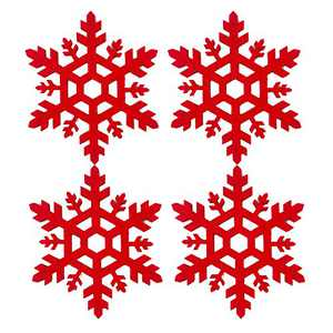 MOMOCAT Christmas Snowflake Felt Coaster for Drinks Absorbable (4PACK )