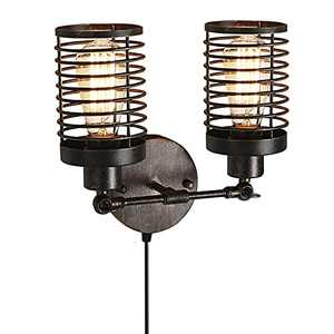 YEPHALL Wall Sconces Set of Two, Dimmable Wall Lamp with Plug in Cord, Industrial Rustic Vintage Wire Cage Wall Sconces, Modern Indoor Sconces Wall Lighting for Living Room Bedside Bathroom Hallway