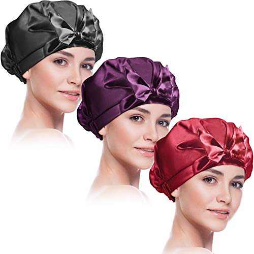3 Pieces Shower Caps Double Layer Bath Hair Caps Waterproof Bowknot Bathing Caps Silky Satin Shower Cap Reusable Bathing Shower Hat for Women Bathing, Hair Spa, Travel Use (Black, Red, Purple, Adult)