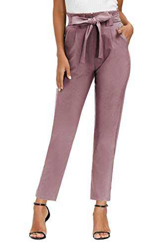 Yidarton Womens Cropped Pants Paper Bag Waist Self-tie Belted Pants Casual Trousers with Pockets (Puce Pants, Large)