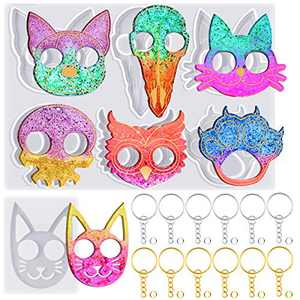 7 Kinds Silicone Keychain Mold Cat Animal Skull Shaped Portable Keychain Resin Epoxy Casting Silicone Mold Set Key Ring with Chains for DIY Jewelry Making