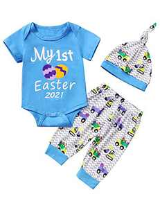Truly One Baby Boys My First Easter Gift Eggs Printed Bodysuit Pants with Hat (Blue04,3-6 Months)