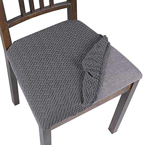 SearchI Seat Covers for Dining Room Chairs Stretch Jacquard Chair Seat Covers Set of 6, Removable Washable Upholstered Chair Seat Protector Cushion Slipcovers for Kitchen, Office(Twill Silver Gray)