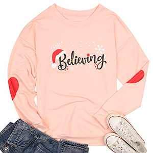 Christmas Believing Sweatshirt Women Santa Hat Pullover Funny Graphic Shirt Holiday Tops (Pink, M)