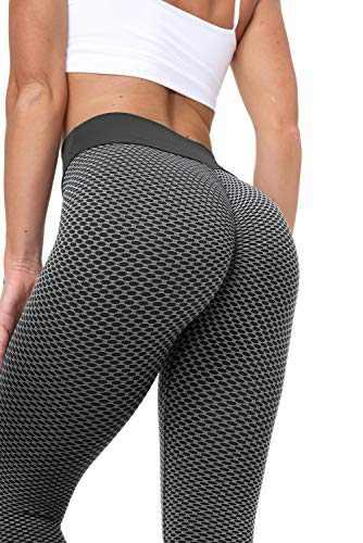 Choichic Butt Lifting Leggings Women's High Waisted Yoga Pants Tummy Control Running Workout Athletic Leggings Medium Black