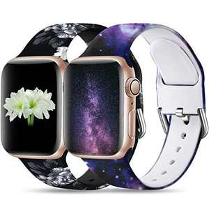 Dirrelo Compatible for Apple Watch Bands 44mm 42mm iWatch SE & Series 6 & Series 5 4 3 2 1 Silicone Pattern Printed Band Strap for Women Men Wristband, S/M 2-Pack Grey Floral & Starry Night