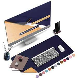 "ABRAIGO 24""x 14"" Large Natural Cork & PU Leather Desk Pad, Double-Sided Desk Mat Mouse Pad, Waterproof Desk Protector (Intense Blue)"