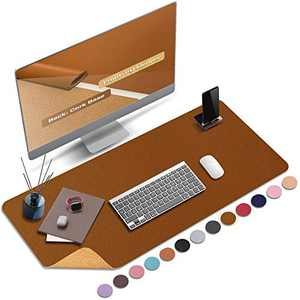 """ABRAIGO 32""""x 16"""" Large Natural Cork & PU Leather Desk Pad, Double-Sided Desk Mat Mouse Pad, Waterproof Desk Protector (Brown)"""