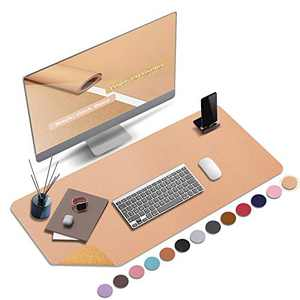 "ABRAIGO 32""x 16"" Large Natural Cork & PU Leather Desk Pad, Double-Sided Desk Mat Mouse Pad, Waterproof Desk Protector (Bronze)"